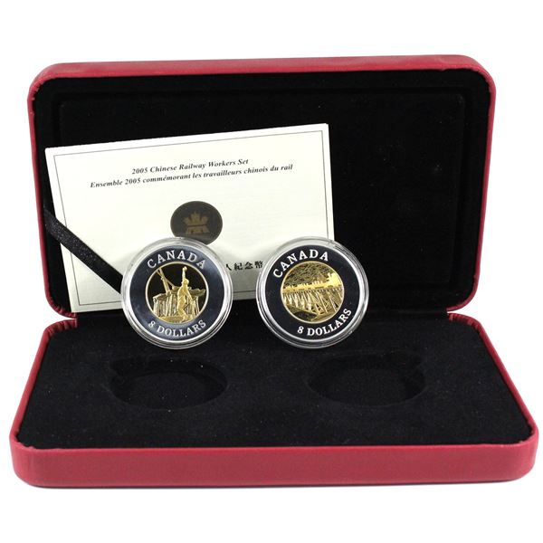2005 Canada $8 Chinese Railway Workers Fine Silver 2-Coin Set (Missing sleeve). TAX Exempt
