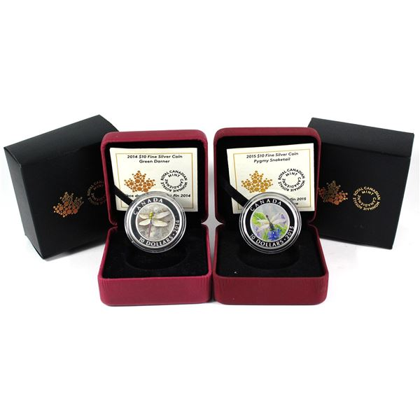 2014-2015 Canada $10 Dragonfly - Green Darner & 2015 Pygmy Snake tail Fine Silver Coins. 2pcs (TAX E
