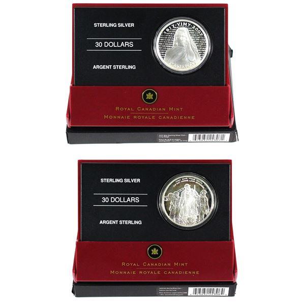 2006 Canada $30 National War Memorial & 2007 $30 National War Memorials - Vimy Ridge Memorial Sterli