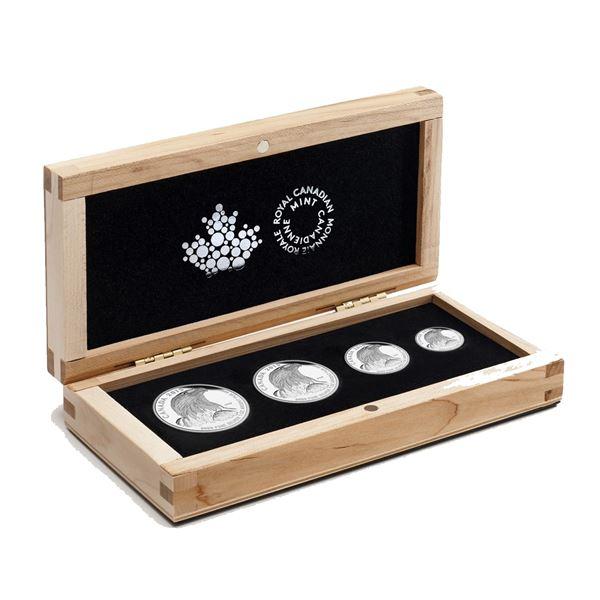 2015 Canada Bald Eagle Fractional 4-coin Fine Silver Set Featuring 1oz, 1/2oz, 1/4oz & 1/10oz Coins.