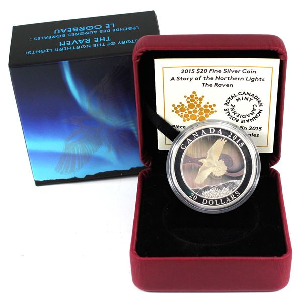 2015 Canada $20 A Story of the Northern Lights - The Raven Fine Silver Coin. TAX Exempt
