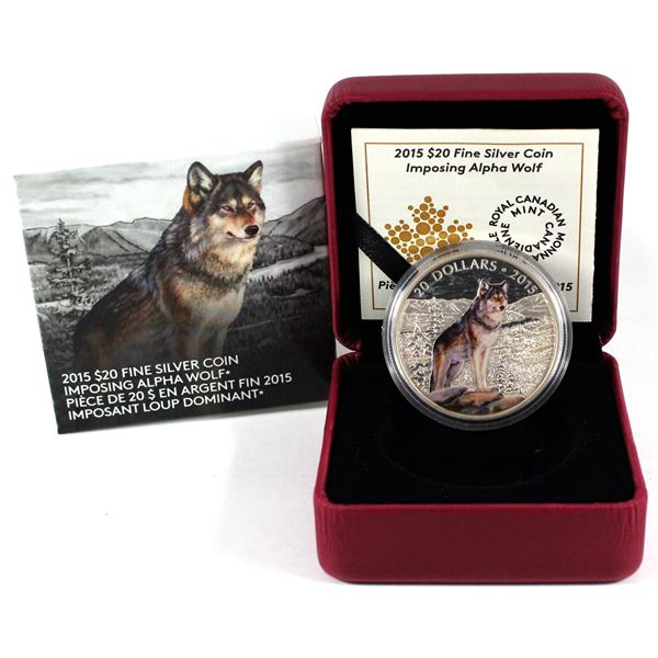 2015 Canada $20 Imposing Alpha Wolf Fine Silver Coin. TAX Exempt