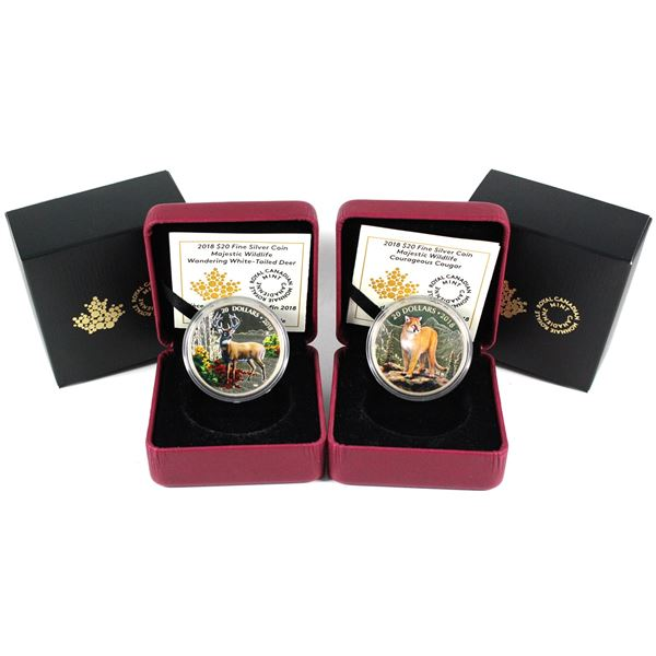 2018 Canada $20 Majestic Wildlife - Wandering White-Tailed Deer & Courageous Cougar Fine Silver Coin