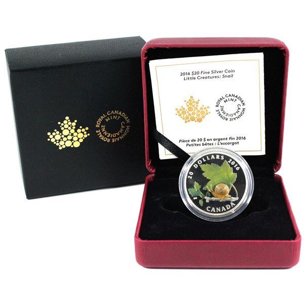 2016 Canada $20 Little Creatures - Murano Glass Snail Fine Silver Coin.