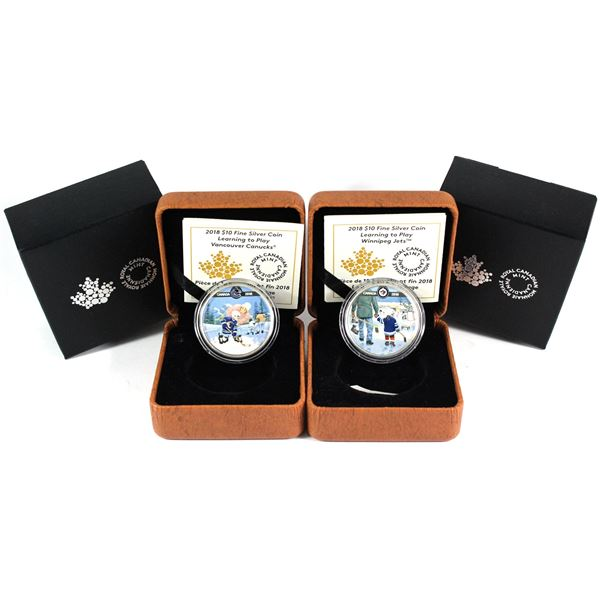 2018 Canada $10 Learning To Play - Vancouver Canucks & Winnipeg Jets Fine Silver Coin. 2pcs (TAX Exe