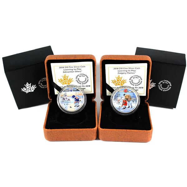 2018 Canada $10 Learning To Play - Calgary Flames & Edmonton Oilers Fine Silver Coins. 2pcs (TAX Exe