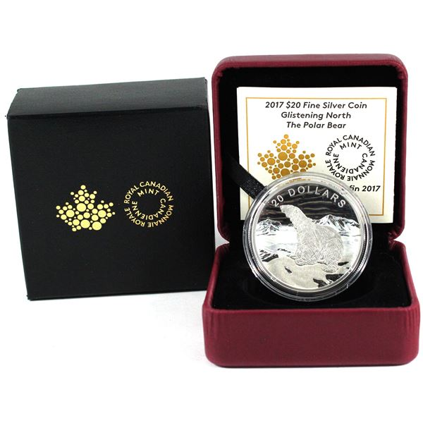 2017 Canada $20 Glistening North - Polar Bear Fine Silver Coin. (TAX Exempt)