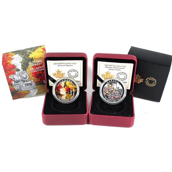 2015 Canada $20 Autumn Express & 2015 $20 Weather Phenomenon - Winter Freeze Fine Silver Coin. 2pcs