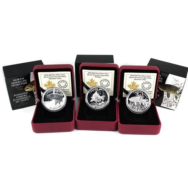 2015 Canada $20 North American Sportfish Fine Silver Coins - Walleye, Northern Pike & Rainbow Trout.