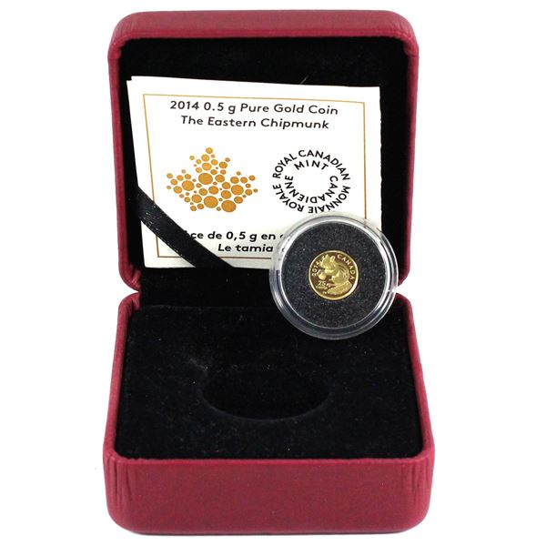 2014 Canada 25-cent The Eastern Chipmunk 0.5g Fine Gold Coin Encapsulated in Red RCM Display Box wit