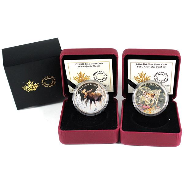 2015 Canada $20 The Majestic Moose & 2016 $20 Baby Animals - Caribou Fine Silver Coins (Capsules lig
