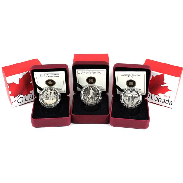 2013 O Canada $10 Fine Silver Coins - RCMP, Hockey & Canadian Holiday Season. 3pcs (TAX Exempt)