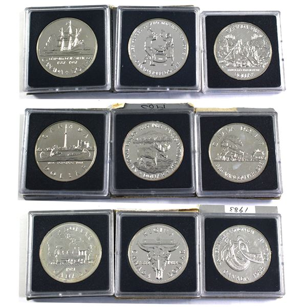 1981-1989 Canada Brilliant Uncirculated Silver Dollars (Coins may be toned and/or capsules scuffed,