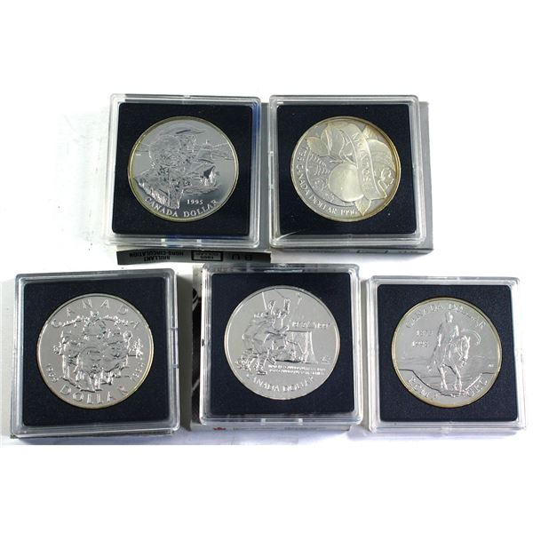 1994, 1995, 1996, 1997 & 1998 Canada Brilliant Uncirculated Silver Dollars (Coins may be toned and/o