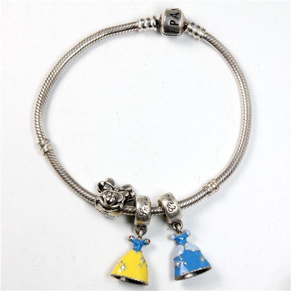 Pandora Signed Bracelet with Pandora Signed Disney-Themed Charms - Snow White Enameled Dress, Cinder