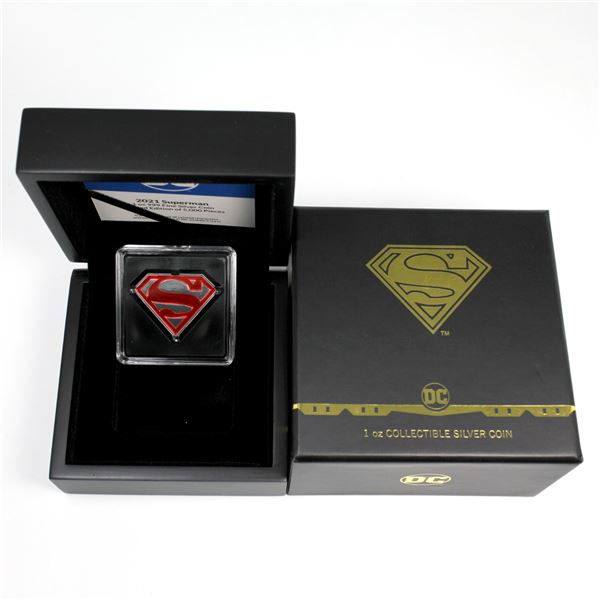 2021 Niue $2 1oz Superman Enameled Diamond Shaped .999 Fine Silver Coin. Mintage of only 5000! (TAX