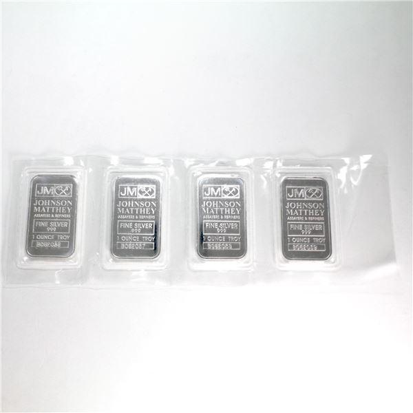 Very Unique Error!!! 4x 1oz Johnson Matthey .999 Fine Silver Bars in Plastic Strip with Consecutive