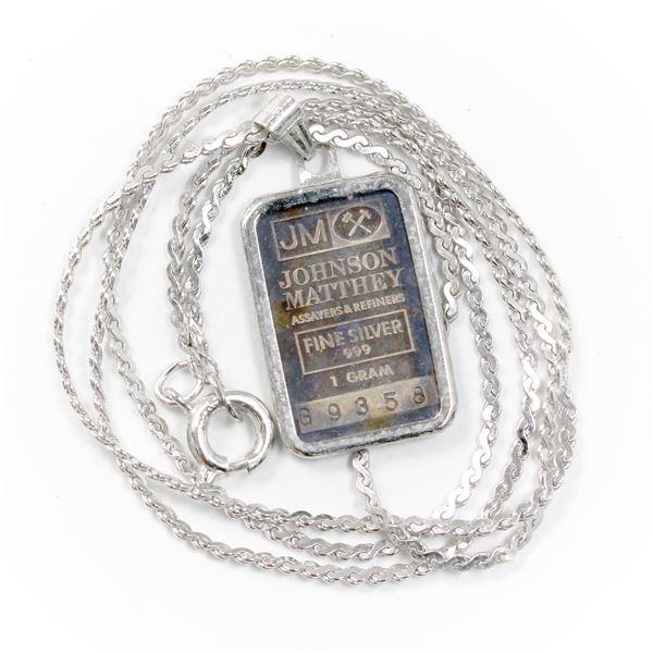 1 Gram Johnson Matthey .999 Fine Silver Bar in Bezel on a Sterling Silver Chain. (TAX Exempt)