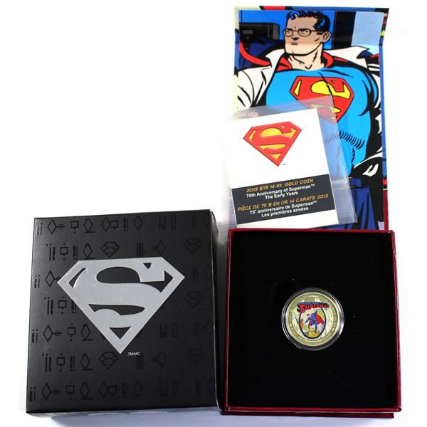 2013 Canada $75 Superman - The Early Years 14K Coloured Gold Coin. Mintage of only 2000!