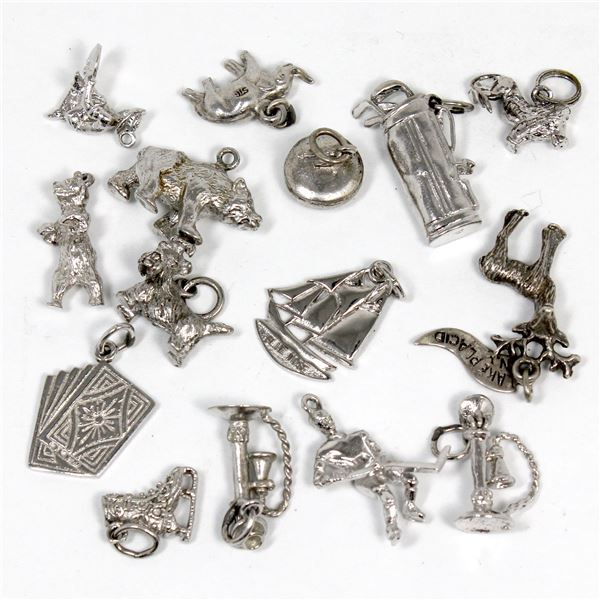 Group Lot of 15x Miscellaneous Sterling Silver Charms of All Different Designs. Total weight is 25 g