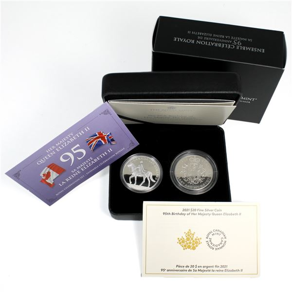 2021 Royal Celebration 2-coin Fine Silver Set Issued in a Partnership of the Royal Canadian Mint and