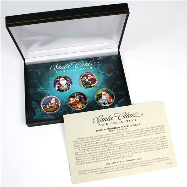 Santa Claus Coin Collection 5-coin Set with Various Scenes with Santa Painted Onto USA 50-cent Coins
