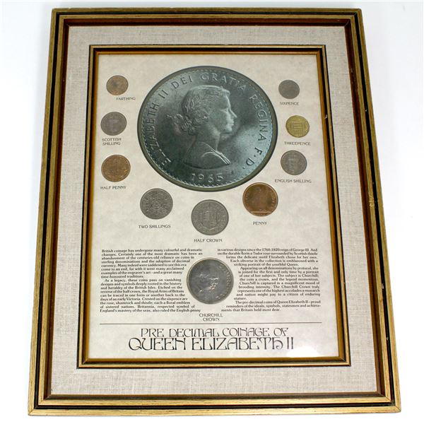 *Great Britain 'Pre Decimal Coinage of Queen Elizabeth II' 10-coin Set in Wooden frame. This set fea