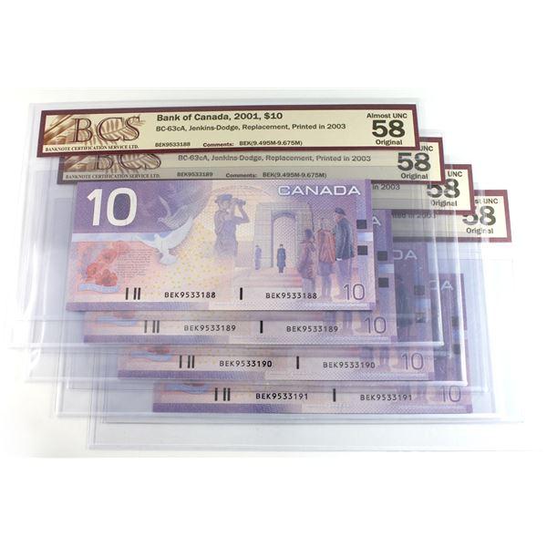 4 x BEK Prefix Canada $10 Notes in sequential order - BEK9533188-191 BCS Certified AU-58 Original. 4