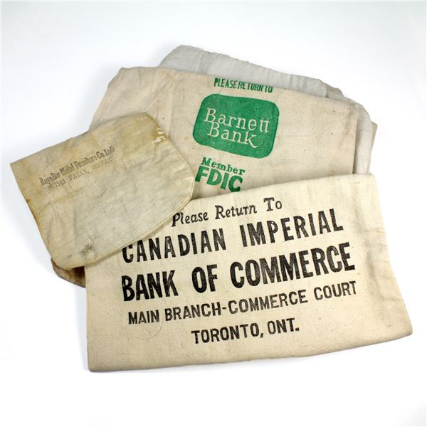 Estate Lot of 8x Original Banker's Burlap Bags. Two of the bags are marked CIBC and Barnett Bank. 8p
