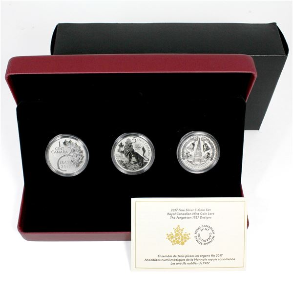 2017 Canada RCM Coin Lore - Forgotten 1927 Design 3-coin Fine Silver Set. Low mintage #0029/5500!!!