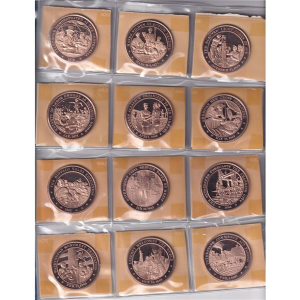 *1876-1975 History of the United States 100 Medal Set from the Franklin Mint in Plastic Pages and Bi