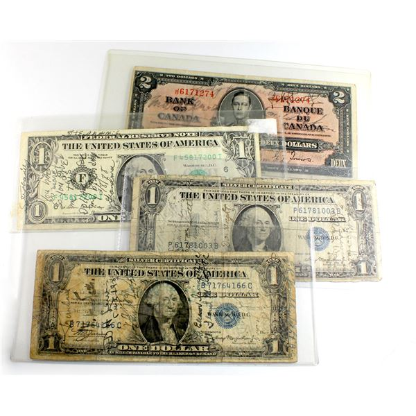 Unique Estate Lot of 4x 'Short Snortner' Banknotes from US and Canada. The Short Snortner note tradi