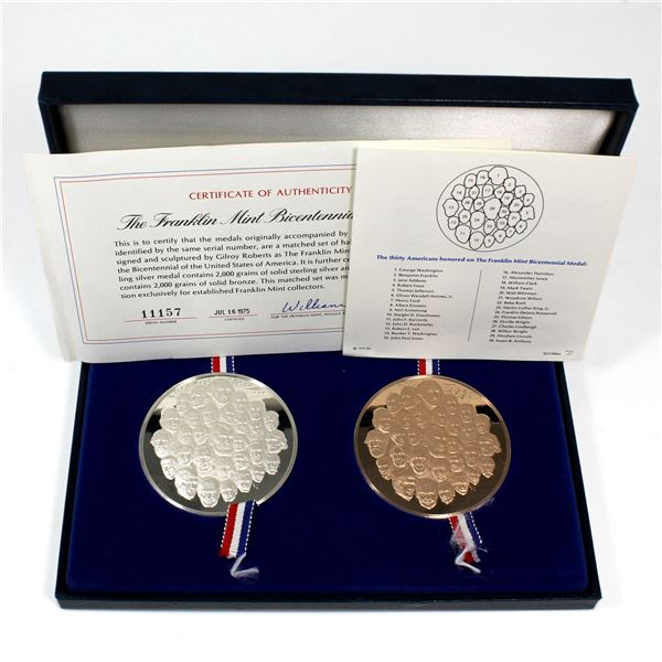 1976 Franklin Mint United States Bicentennial Bronze and Sterling Silver Medal Set Featuring the Eff