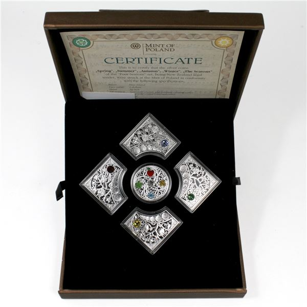 2013 Niue The Four Seasons 5-coin Sterling Silver Set Featuring Swarovski Crystals Minted by the Min