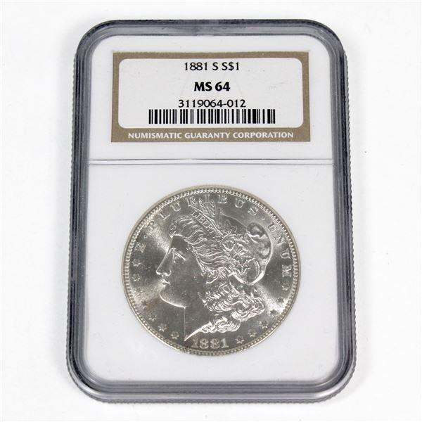 1881-S USA Morgan Silver Dollar NGC Certified MS-64.