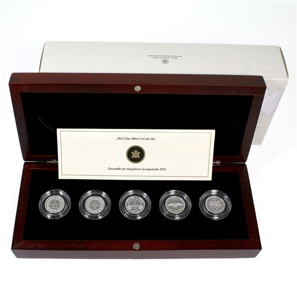 2012 Canada 1-cent Farewell to the Penny 5-coin Fine Silver Set. (TAX Exempt)