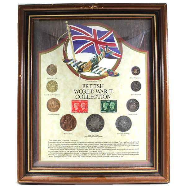 *British World War II Collection in Wooden Frame. You will receive a Bronze Farthing, nickel-brass T