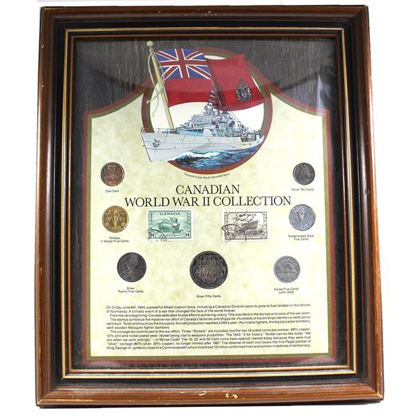 *Canadian World War II Collection in Wooden Frame. You will receive 1-cent, Tombac V design 5-cent,