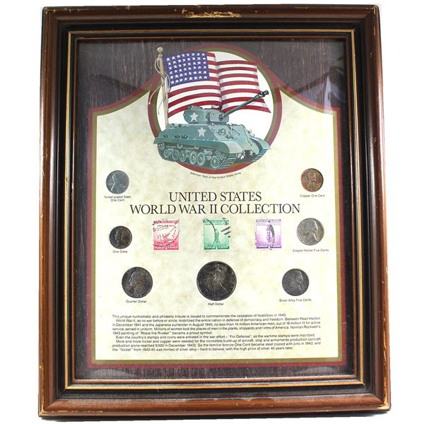 *United States World War II Collection in Wooden Frame. You will receive nickel-plated 1-cent, coppe