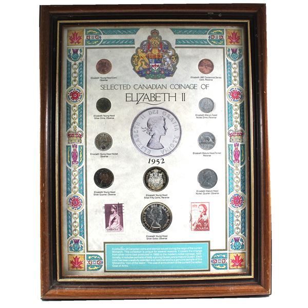 *Selected Canadian Coinage of Elizabeth II 10-coin Set with Two 5-cent Stamps in Wooden Frame. This