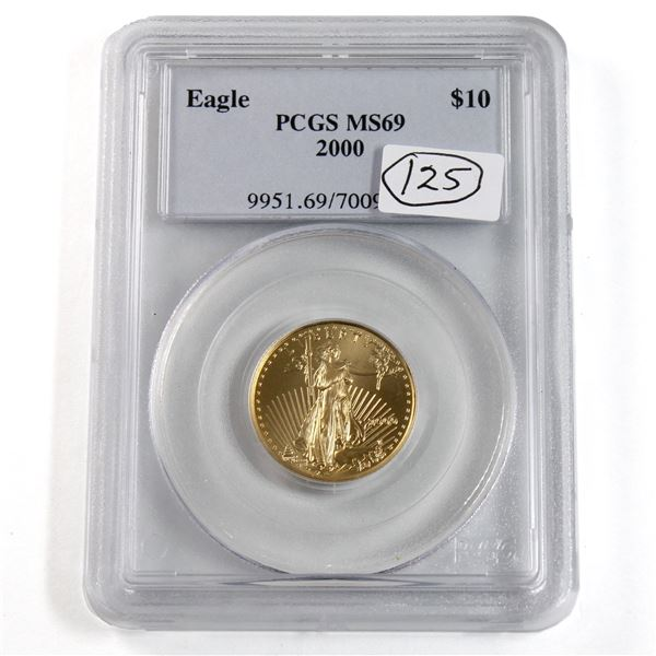 2000 USA $10 1/4oz Fine Gold Eagle PCGS Certified MS-69. (TAX Exempt)