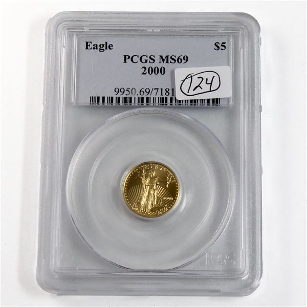 2000 USA $5 1/10oz Fine Gold Eagle PCGS Certified MS-69. (TAX Exempt)