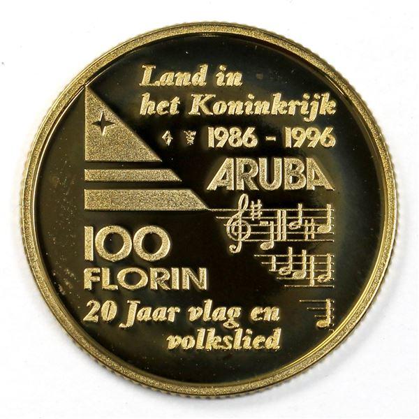 1996 Aruba 100 Florin .900 Gold Coin UNC. Contains 0.194oz fine gold.