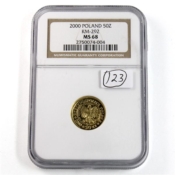 2000 Poland 50 Zlotych 1/10oz .9999 Fine Gold Coin NGC Certified MS-68. (TAX Exempt)