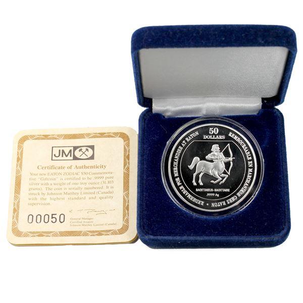 "Timothy Eaton $50 gift coin 1oz  Zodiac ""Sagittarius"" Fine Silver coin. minted by Johnson Matthey. L"