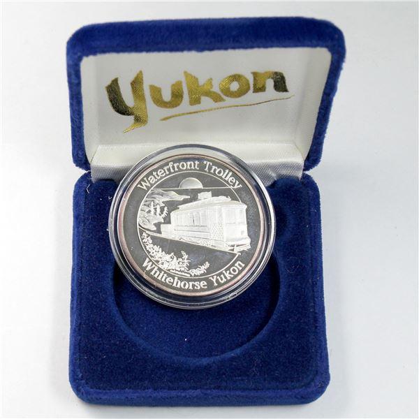 "*Scarce* Alaska Mint ""Whitehorse Yukon, Waterfront Trolley"" 1oz .9999 Fine silver medallion. Medal #"