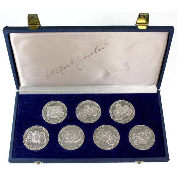 *Scarce* 1969-1972  Apollo Moon Landing 7-coin 999.9 Silver Medallion set. Each medallion has a weig