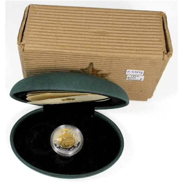 1999 Nunavut 22KT $2 Commemorative Gold Coin( display box is worn). However the coin comes with all