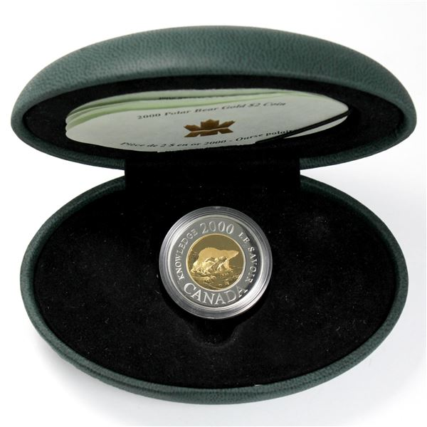 2000 Knowledge 22KT $2 Commemorative Gold Coin. Coin comes encapsulated with display box( display bo