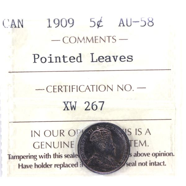 1909 Canada 5-cent Pointed Leaves ICCS Certified AU-58. A nice toned coin with golden orange/Purple